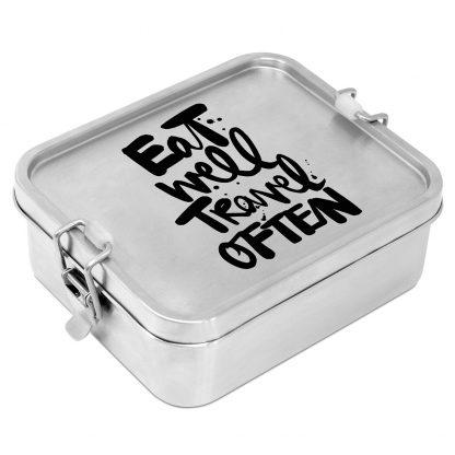 """Edelstahl Lunchbox """"eat well travel often"""""""