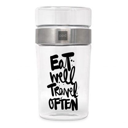 """Snack2Go Aufbewahrungsglas """"eat well travel often"""""""