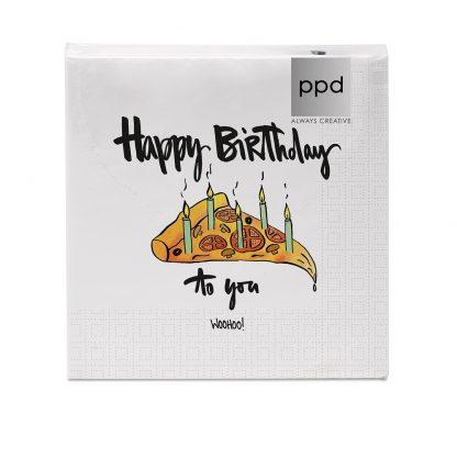 """Servietten """"Happy Birthday Pizza"""" - 33x33 cm"""