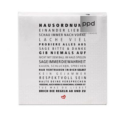 """Servietten """"Hausordnung"""" - 33x33 cm"""