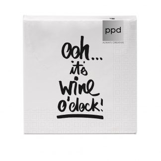 "Servietten ""oh, it's wine o clock"" - 33x33 cm"