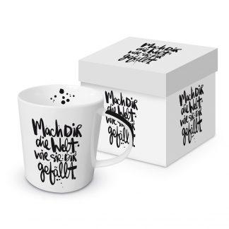 """Tasse """"Mach dir die Welt, wie sie dir gefällt"""" mit Geschenkbox"""