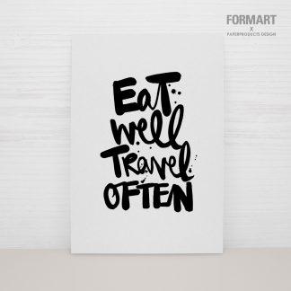 """Postkarte """"eat well travel often"""""""