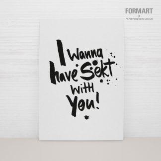 Postkarte I wanna have Sekt with you