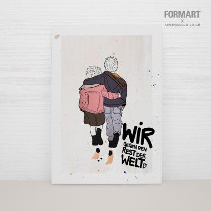 """Postkarte """"Wir gegen den Rest der Welt"""""""