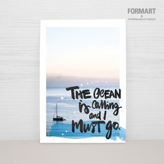 "Postkarte ""the ocean is calling - I must go"""